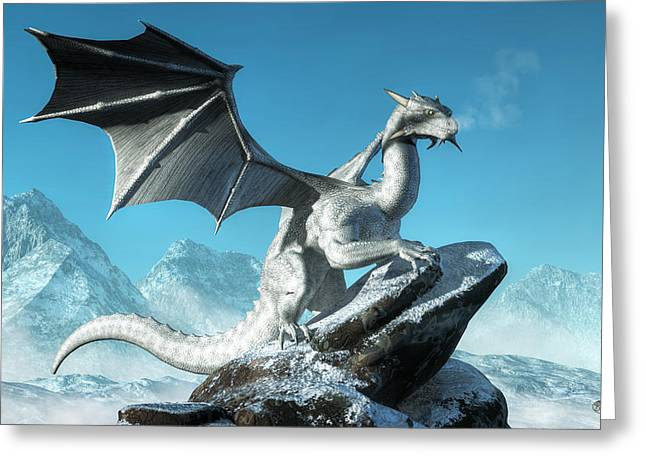 Forgotten Digital Greeting Cards - Winter Dragon Greeting Card by Daniel Eskridge