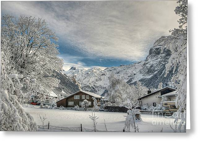 Caroline Pirskanen Greeting Cards - Winter Dream in Engelberg Greeting Card by Caroline Pirskanen