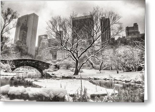 Nyc Posters Digital Art Greeting Cards - Winter Dreams Greeting Card by Nishanth Gopinathan