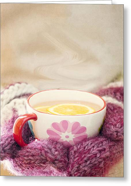 White Mittens Greeting Cards - Winter Drink Greeting Card by Juli Scalzi