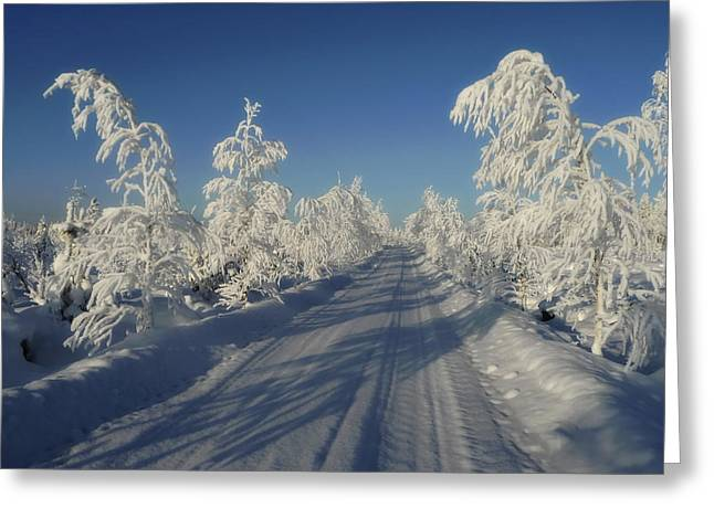 Snow Drifts Greeting Cards - Winter Drive Greeting Card by Mountain Dreams