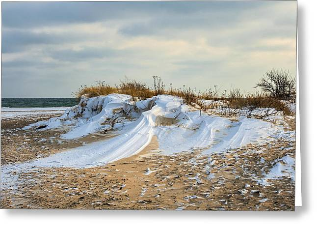 Snowy Day Greeting Cards - Winter dune Greeting Card by Jan Sieminski