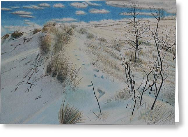 Indiana Winters Drawings Greeting Cards - Winter Dune Greeting Card by Scott Kingery