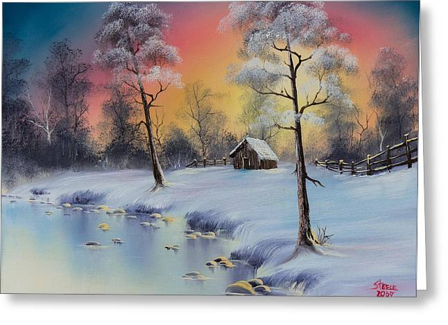 Bob Ross Paintings Greeting Cards - Winters Grace Greeting Card by C Steele