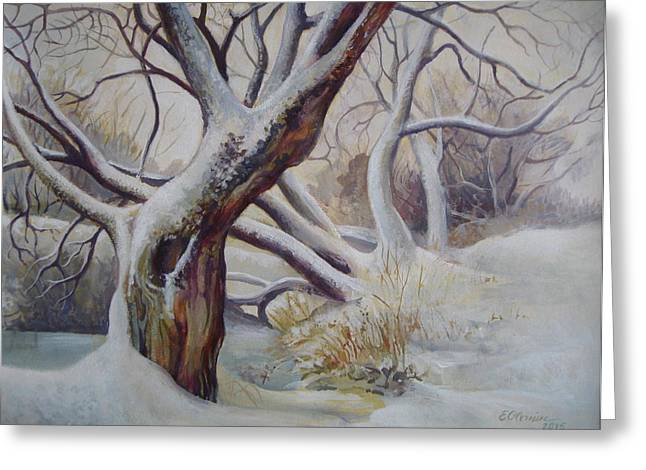 Winter Trees Mixed Media Greeting Cards - Winter Greeting Card by Elena Oleniuc