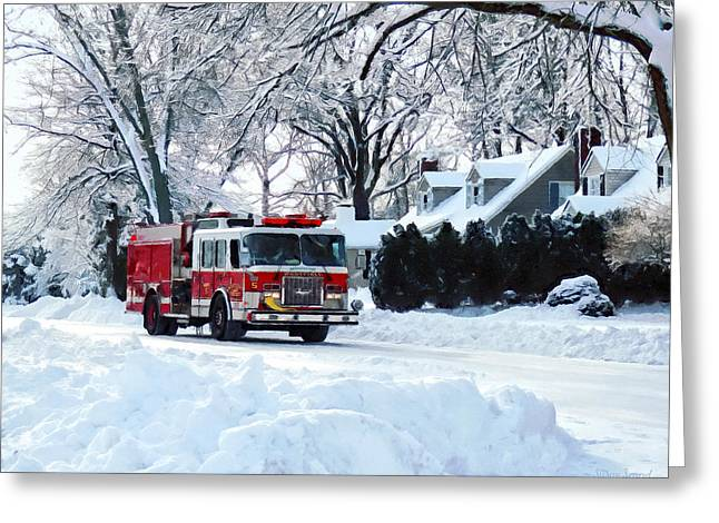 Fire Engines Greeting Cards - Winter Emergency Greeting Card by Susan Savad