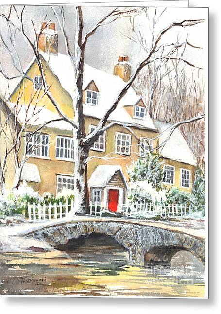 Winter Storm Drawings Greeting Cards - Winter Enraptured Greeting Card by Carol Wisniewski