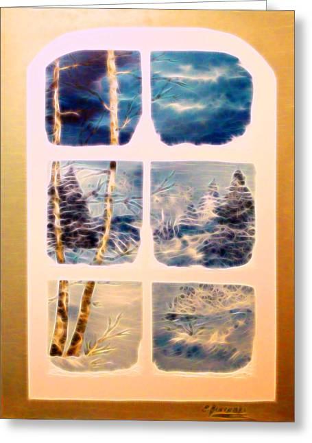 Fenster Digital Art Greeting Cards - Winter  Greeting Card by Eva Borowski