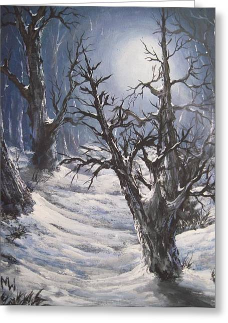 Winter Night Greeting Cards - Winter eve Greeting Card by Megan Walsh
