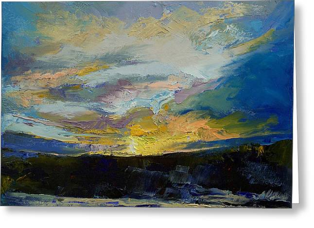 Winter Sunset Greeting Card by Michael Creese