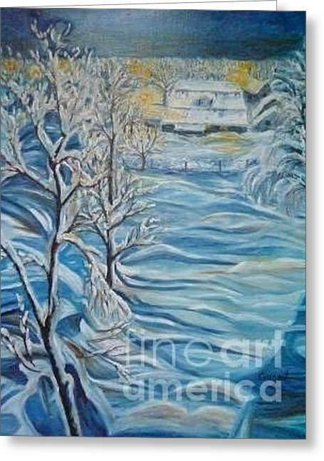 Winter Night Greeting Cards - Winter Evening Outside My Window Greeting Card by Inna Skidan