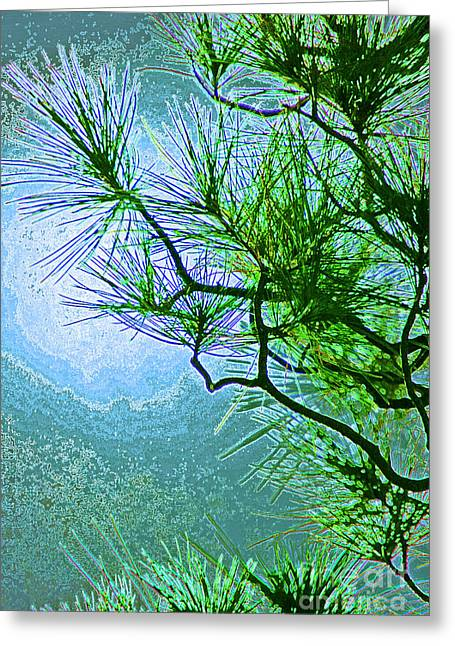 First Star Art Mixed Media Greeting Cards - Winter Evergreen  Greeting Card by First Star Art