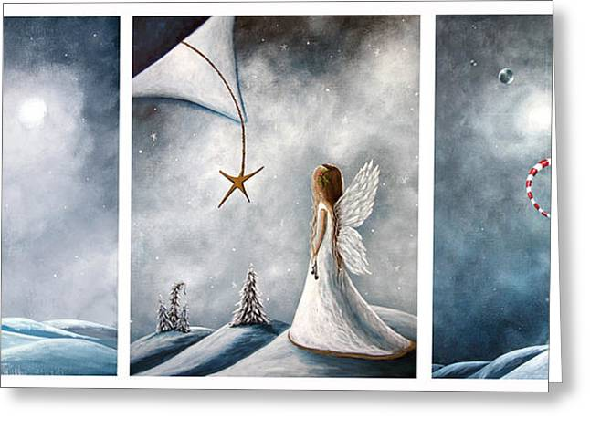 Snowy Night Night Greeting Cards - Winter Fairies by Shawna Erback Greeting Card by Shawna Erback