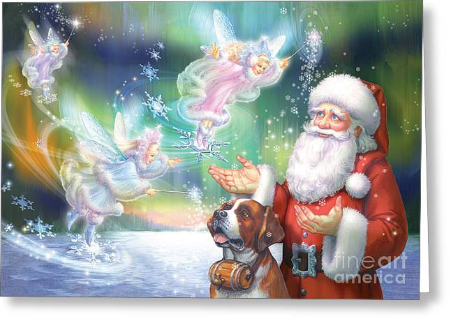 Santa Claus Greeting Cards - Winter Fairies Greeting Card by Zorina Baldescu