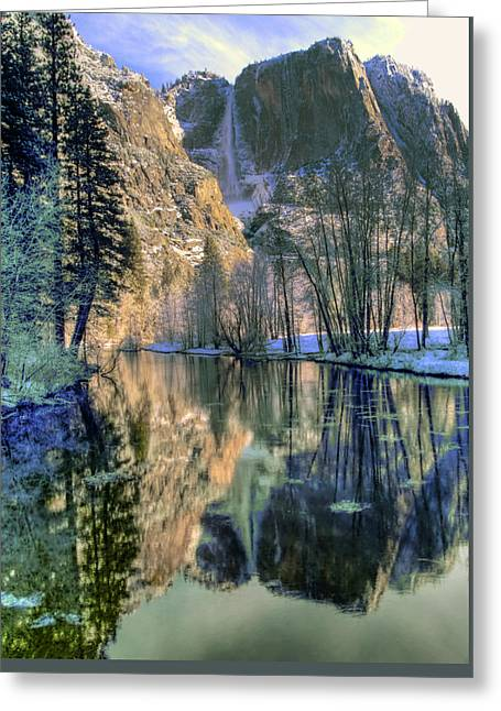 Mountain Valley Greeting Cards - Winter Falls Greeting Card by Bill Gallagher