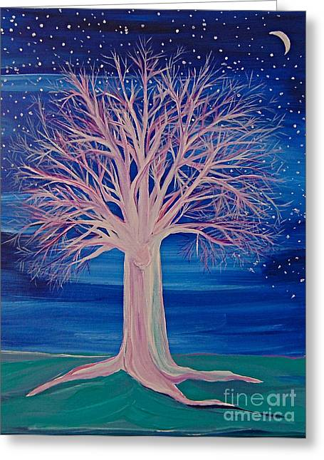 First Star Art Greeting Cards - Winter Fantasy Tree Greeting Card by First Star Art