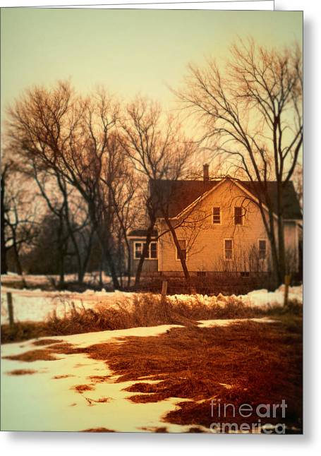 Winter Scenes Rural Scenes Greeting Cards - Winter Farhouse Greeting Card by Jill Battaglia