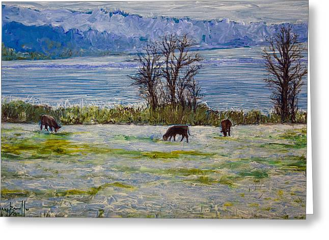 Grazing Snow Paintings Greeting Cards - Winter Farm 2 Greeting Card by Ron Richard Baviello