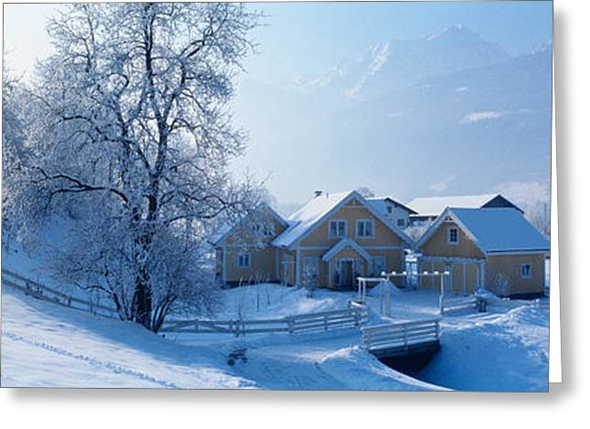 Snow-covered Landscape Greeting Cards - Winter Farm Austria Greeting Card by Panoramic Images