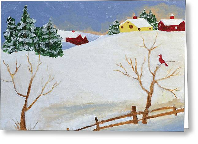 Folk Art Landscapes Greeting Cards - Winter Farm Greeting Card by Bryan Penzer