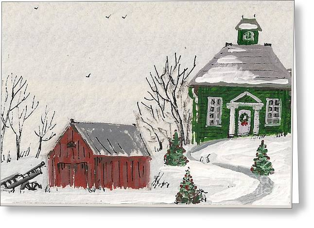 Ryta Greeting Cards - Winter Farm House Greeting Card by Margaryta Yermolayeva