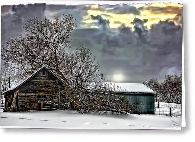 Shed Digital Art Greeting Cards - Winter Farm polaroid transfer  Greeting Card by Steve Harrington