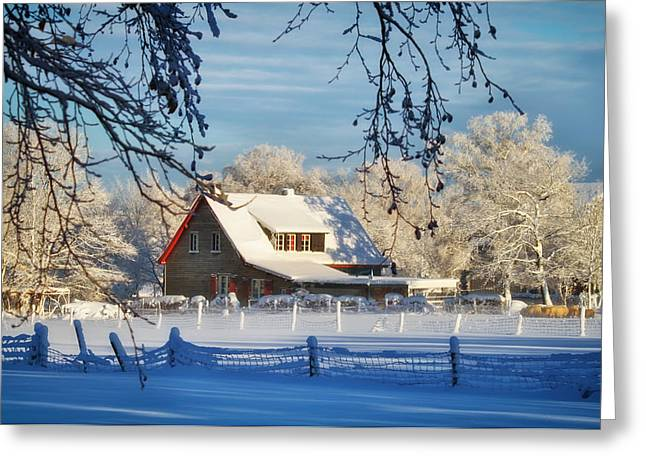 Wintry Greeting Cards - Winter Farmhouse Greeting Card by Mountain Dreams