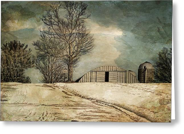 Snow Scene Landscape Greeting Cards - Winter Farmlands Greeting Card by Pamela Phelps