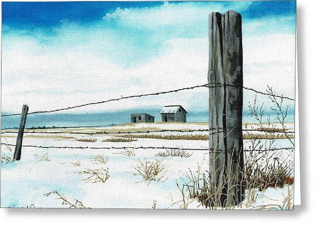 Sunrises Jewelry Greeting Cards - Winter Fence Line on Prairie Greeting Card by David Wolfer