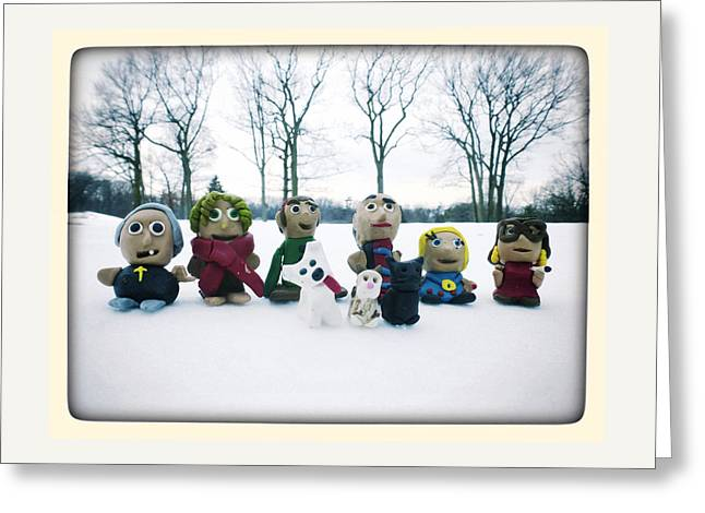 Dog Sculptures Greeting Cards - Winter Fimo Family Greeting Card by Natasha Marco