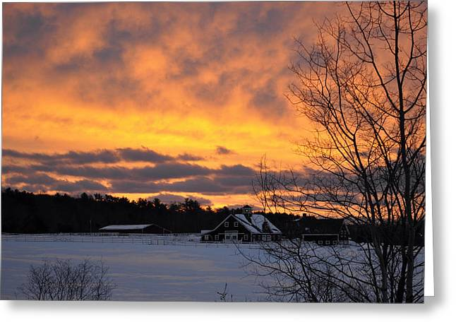 Maine Farms Digital Greeting Cards - Winter Fire Greeting Card by Jim Brage