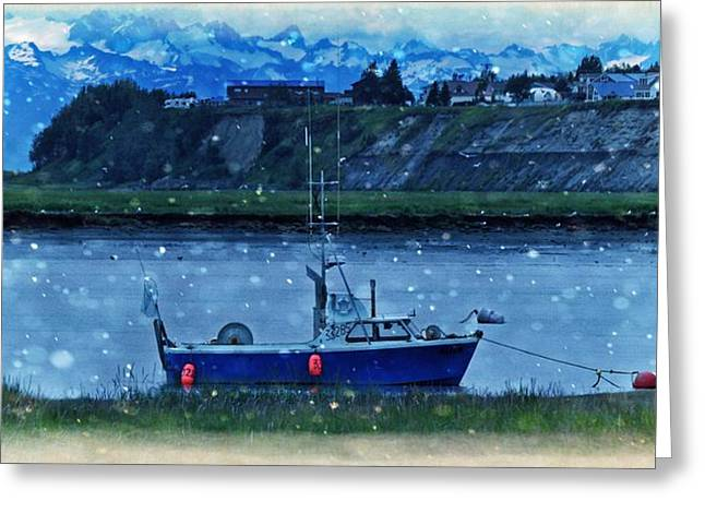 Commercial Fishing Greeting Cards - Winter Fishing Boat Greeting Card by Debra  Miller