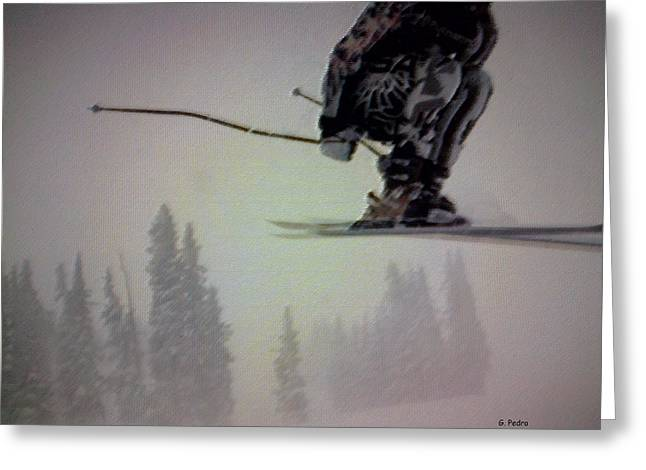 Athlete Pastels Greeting Cards - Winter Flight Greeting Card by George Pedro