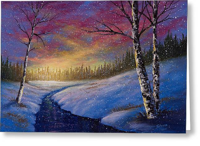Bob Ross Paintings Greeting Cards - Winter Flurries Greeting Card by C Steele