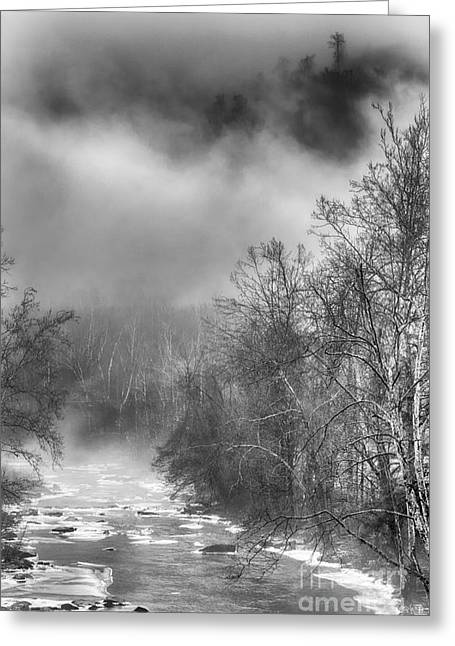Nicholas Greeting Cards - Winter Fog Cherry River Greeting Card by Thomas R Fletcher