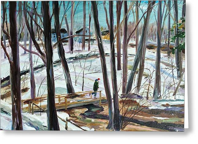 Winter Footbridge Greeting Card by Scott Nelson