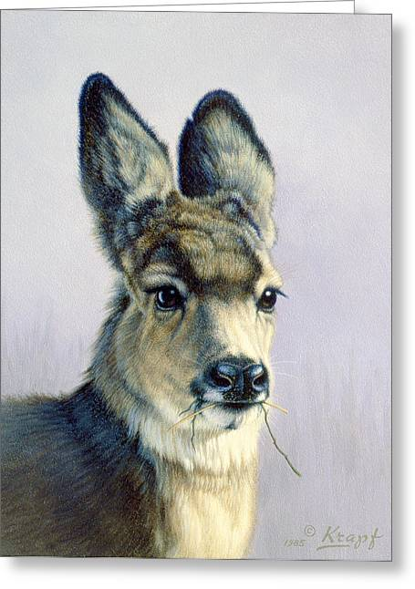 Mules Greeting Cards - Winter Forage-Fawn Greeting Card by Paul Krapf