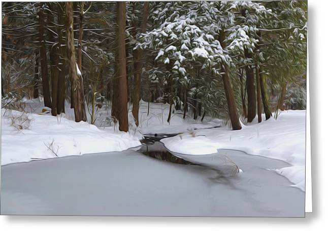 River View Greeting Cards - Winter forest and a river with snow and ice Greeting Card by Lanjee Chee