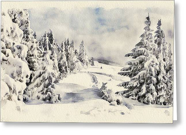 Live Art Greeting Cards - Winter Forest Landscape 26 Greeting Card by Yury Malkov