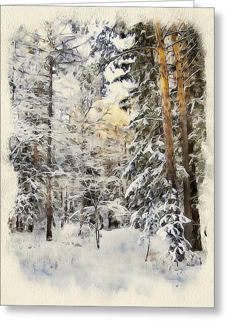 Enjoy Digital Art Greeting Cards - Winter Forest Landscape 44 Greeting Card by Yury Malkov