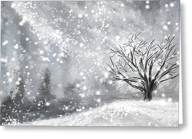 New England Winter Greeting Cards - Winter- Four Seasons Painting Greeting Card by Lourry Legarde