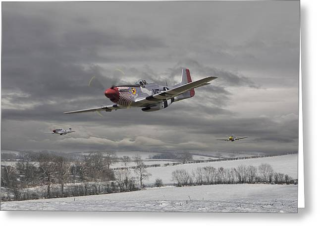 Military Aircraft Greeting Cards - Winter Freedom Greeting Card by Pat Speirs