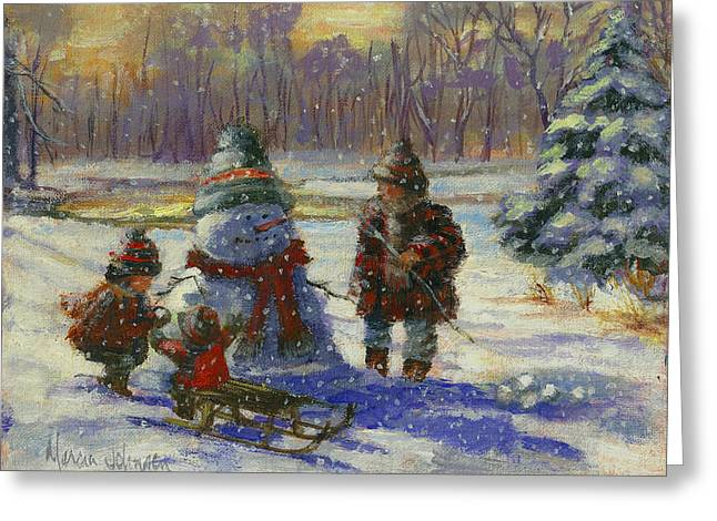 Snowy Evening Greeting Cards - Winter Friend Greeting Card by Marcia Johnson