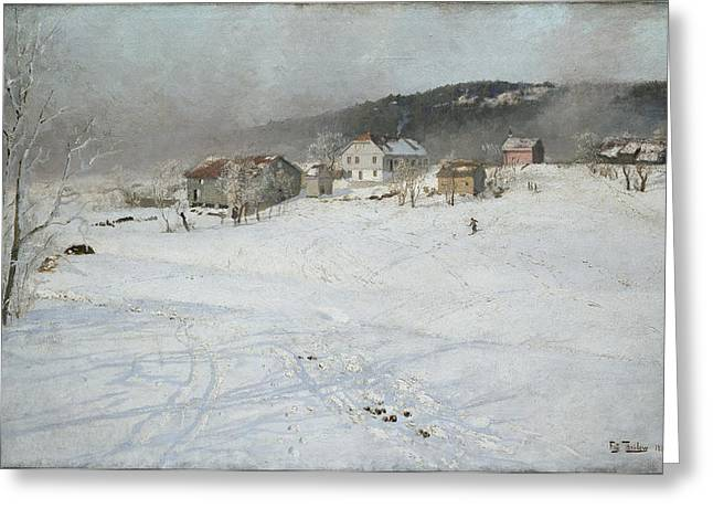 Thaulow Greeting Cards - Winter Greeting Card by Frits Thaulow