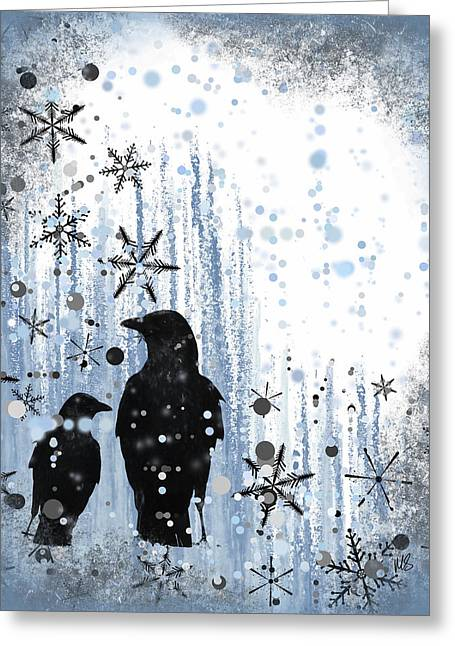 Snowy Day Mixed Media Greeting Cards - Winter Frolic 2 Greeting Card by Melissa Smith