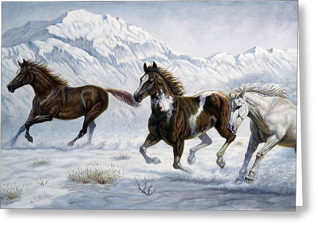 Wild Horse Greeting Cards - Winter Frolic Greeting Card by Gregory Perillo