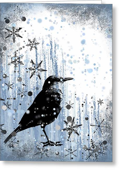 Snowy Day Mixed Media Greeting Cards - Winter Frolic Greeting Card by Melissa Smith