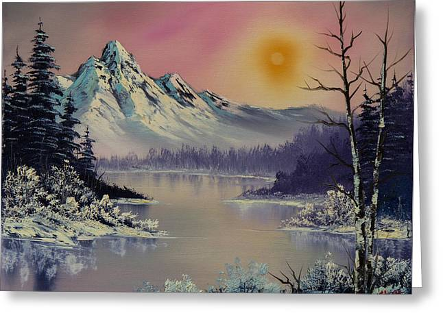 Bob Ross Paintings Greeting Cards - Morning Frost Greeting Card by C Steele