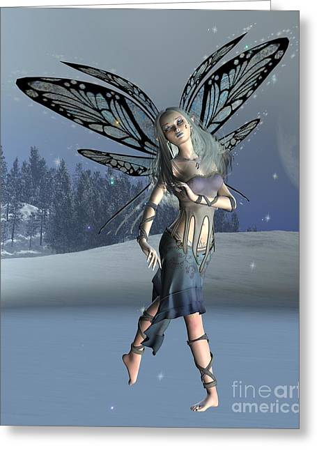 Moon Fairies Blue Snow Woman Greeting Cards - Winter Frost Fairy Greeting Card by Fairy Fantasies