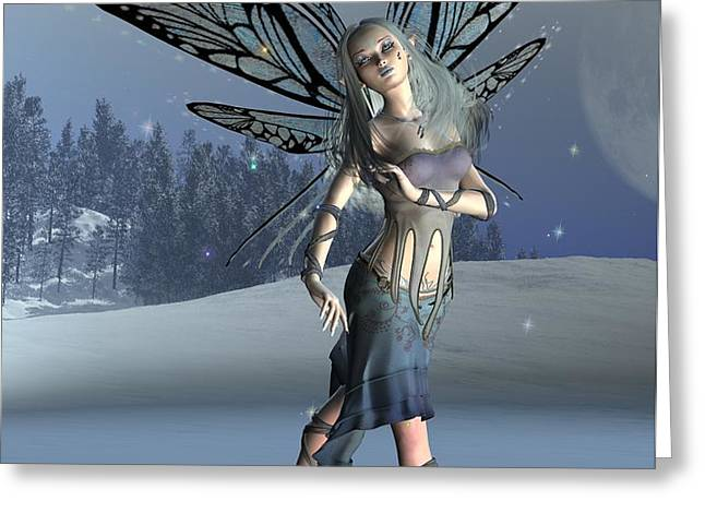 Winter Frost Fairy Greeting Card by Fairy Fantasies
